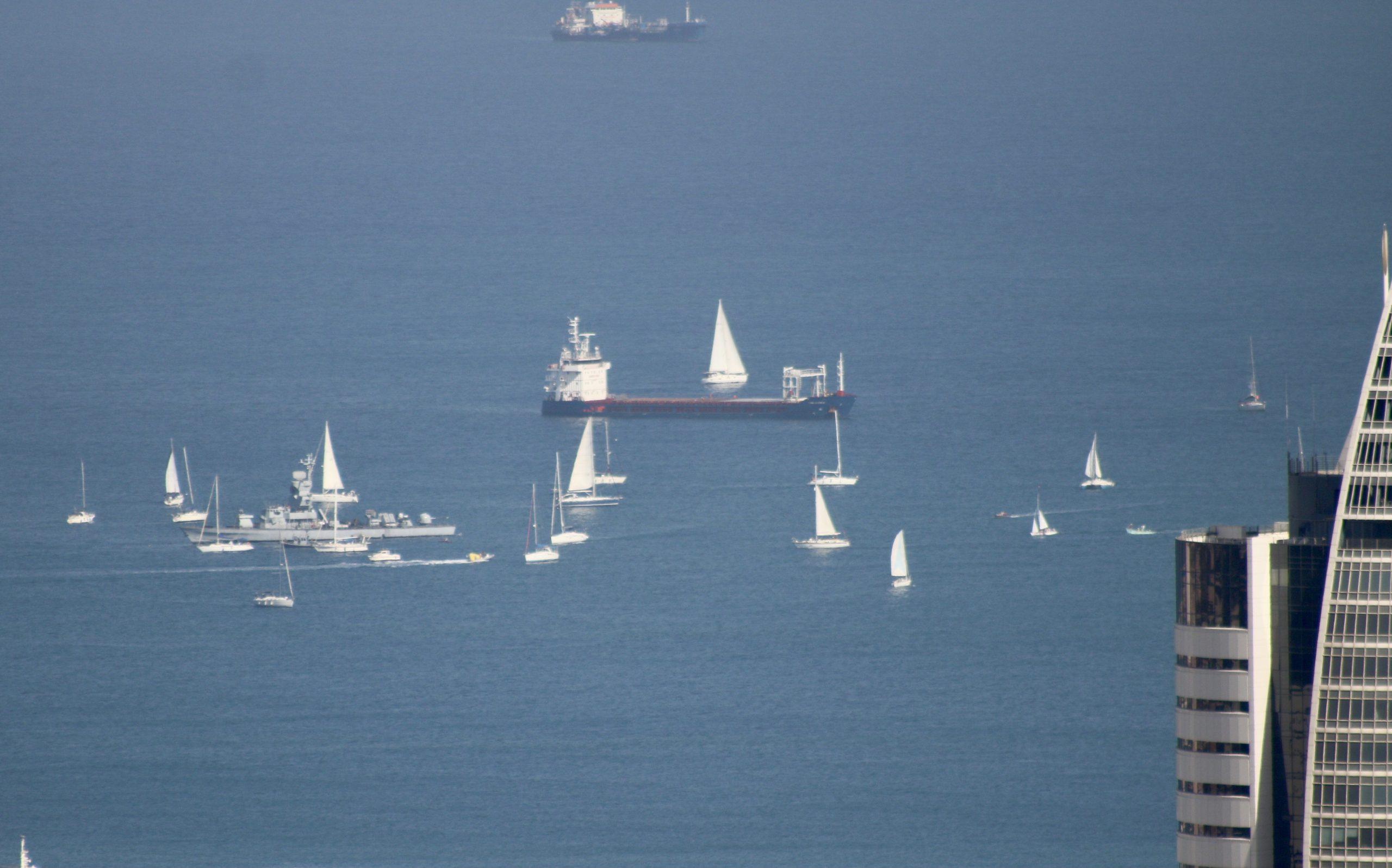 Haifa: Sailboats Greeting Israel Navy Patrol Ship