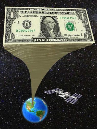 38 billion one dollar bills stacked up