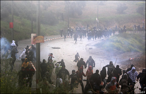 Police used stun grenades and tear gas to break up the crowds of hundreds of Israeli-Arab protesters.