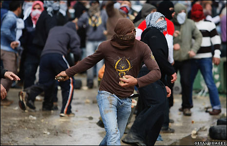 Israeli-Arabs hit back by throwing stones at police, as the demonstration descended into violence.