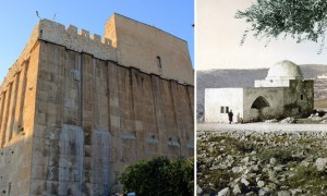 "UNESCO last year declared ancient Jewish Biblical sites to actually be Muslim holy sites: the Tomb of the Patriarchs in Hebron (left) as the ""Ibrahimi Mosque,"" and Rachel's Tomb in Bethlehem (right) as the ""Bilal ibn Rabah Mosque."" (Images source: Wikimedia Commons)"