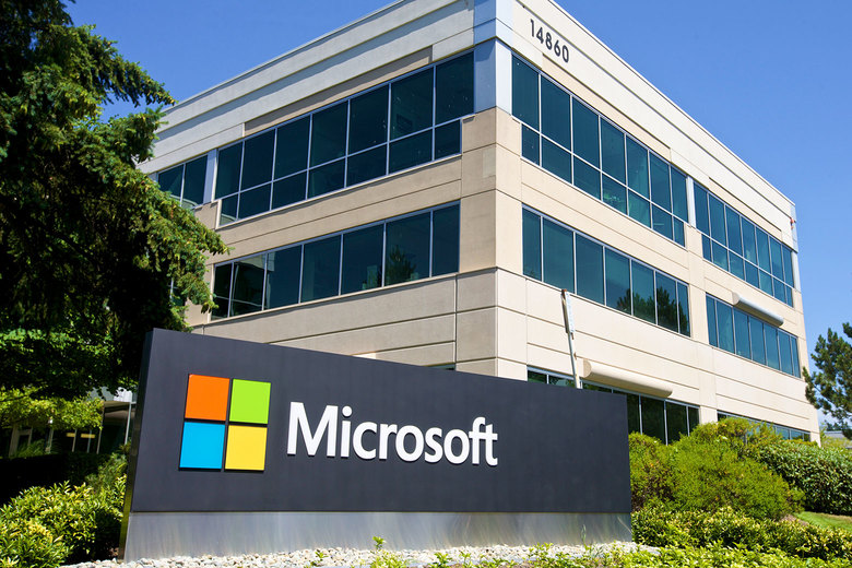 A building in Microsoft headquarters is pictured on July 17, 2014, in Redmond, Washington. Stephen Brashear/Getty Images