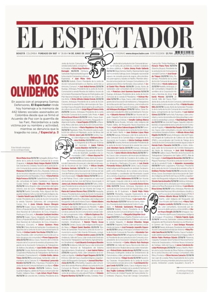 Front page of El Espectador newspaper which listed in four pages the names of all the assassinated social leaders in Colombia since the signature of the peace agreement with the FARC EP. Source: https://twitter.com/EEColombia2020/status/1272185768363069441/photo/1