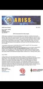ARISS NR #12, SSTV Award | ISS Fan Club