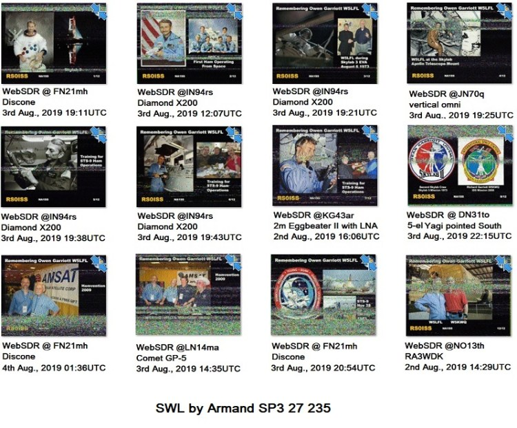During the ARISS SSTV event in August 2019, about 70 different images received using different WebSDR over the World. Here is shown the set of all 12 pictures for broadcasted series. Locations of WebSDR are as grid-locator notation. Type of antenna of the WebSDR is also in the description.