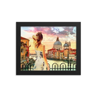 A young lady on city bridge Framed poster