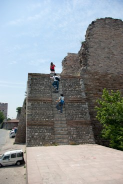 tourists are trying to visit higher parts of walls