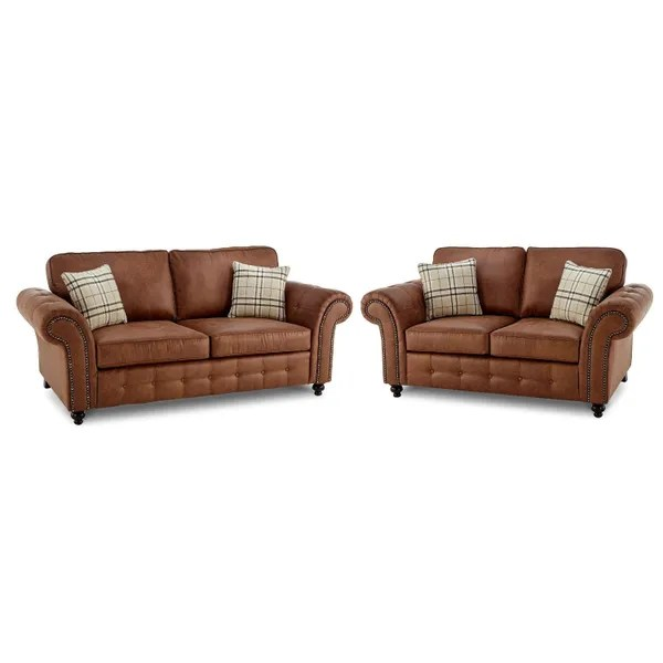 new large oakland sofa 3 2 tan faux leather black or brown sale