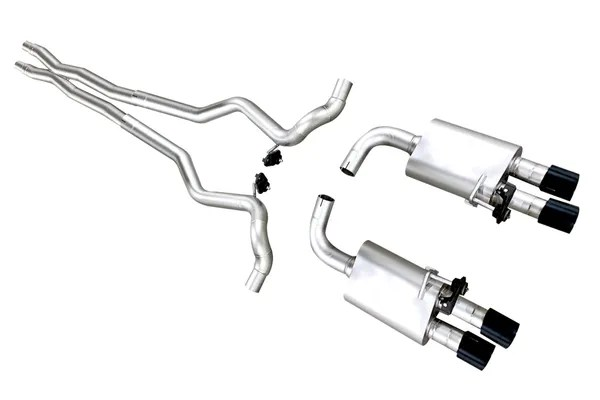 lth long tube headers s550 ford mustang cat back exhaust system w quad tips for 2018