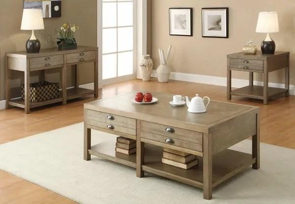 3 pieces light oak coffee table set
