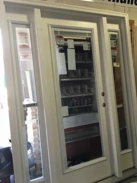 jeld wen auralast exterior door with blinds and side lights 82 x 61