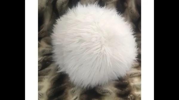 plush round ball faux fur pillow