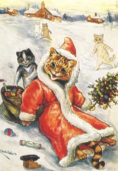 A Jolly Santa Another Brilliant Louis Wain Christmas