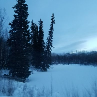 It's snowy on the road to Chena