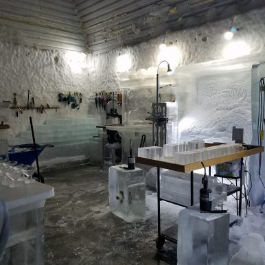 Ice carving area at Chenas Aurora Ice Museum