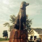 Tornado-Damaged Tree Stump Becomes Tribute to Family Dog