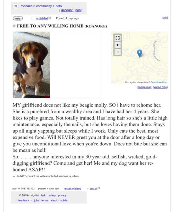 Craigslist Roanoke ad rehome girlfriend