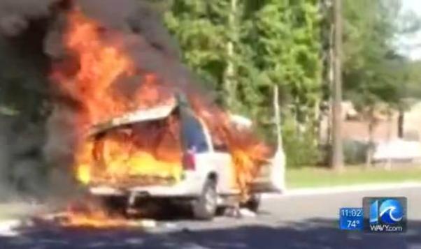burning car chesapeake dog show