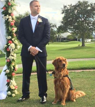 veteran Justin Lansford with best man service dog Gabe