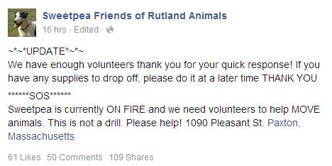 Sweetpea shelter fire facebook