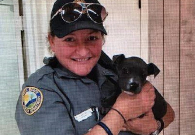 Daytona police officers rescue and adopt freezing puppy