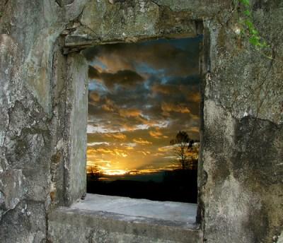 παράθυρο ηλιοβασίλεμα