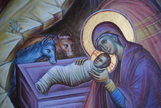 χριστού γέννηση φάτνη παναγία θείο βρέφος αγκαλιά