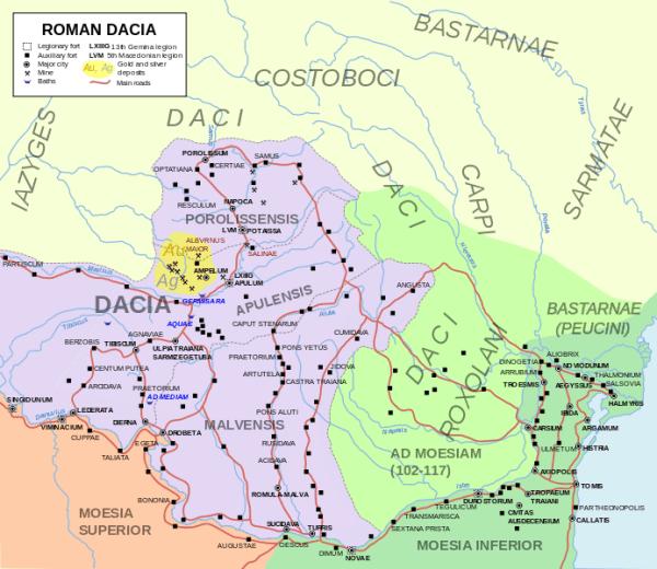 Hartă a Provinciei Dacia extinsă care cuprinde şi zonele aflate sub supravegherea romanilor.