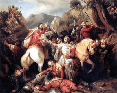 """pictura Molnár József – Carol Robert fugind de pe câmpul de luptă de la """"Posada"""" ."""