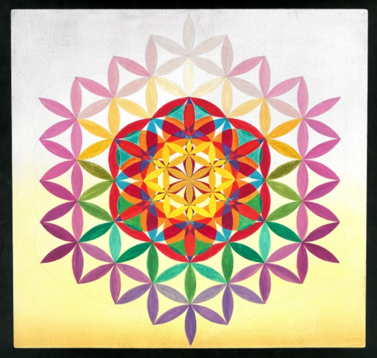 Blume des Lebens in violett und Gelb, Tafelmalerei auf Holz, 43x43, Istvan Seidel