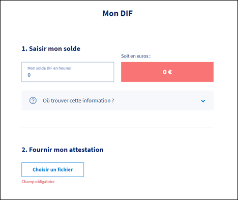 déclarer mes heures dif