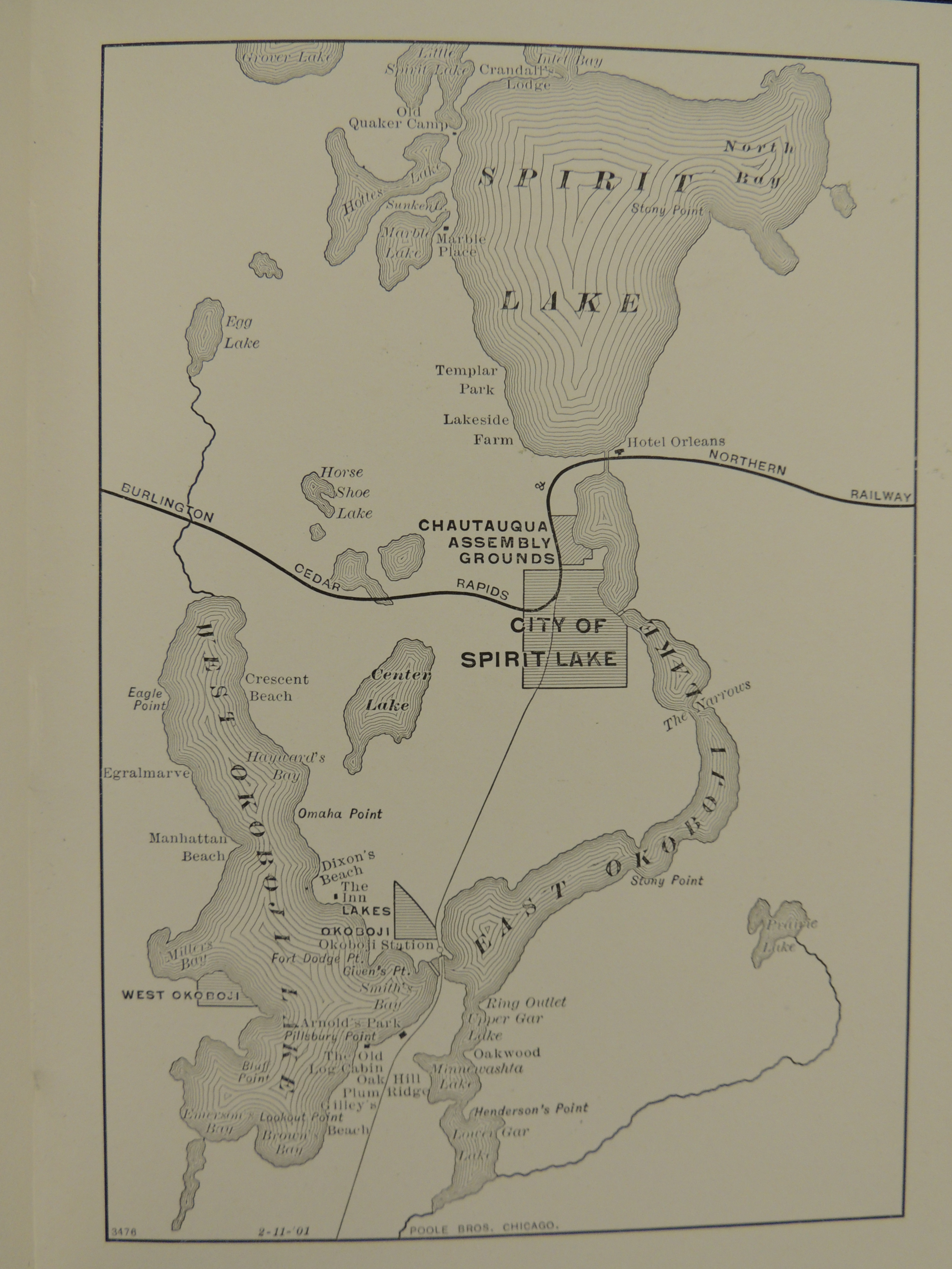 Rare Book Highlights  Railroad tourism to Iowa lakes   Cardinal Tales Map of the Spirit Lake Okoboji area showing the railway and attractions