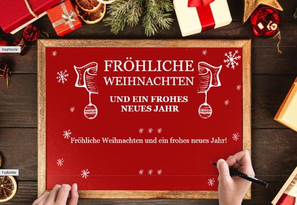 Weihnachtskarte mit Holzrahmen für Word