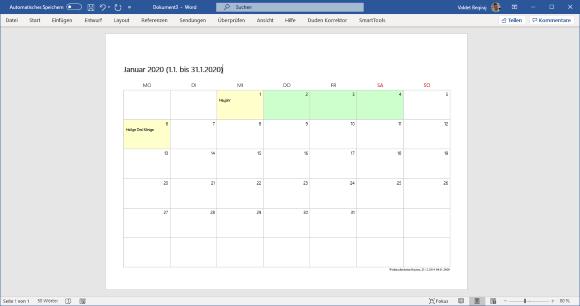 SmartTools Kalender-Assistent 2020