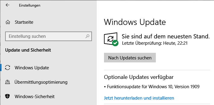 Funktionsupdate für Windows 10 Version 1909
