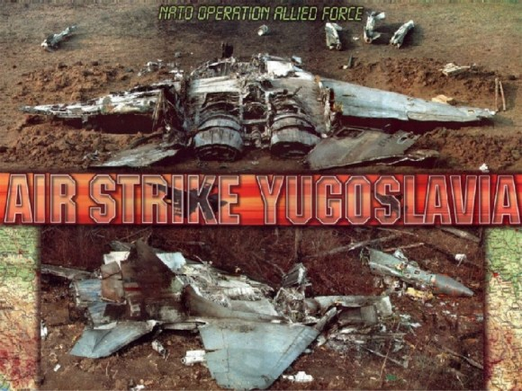 Wreckage of a downed Yugoslav MiG-29 fighter
