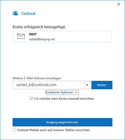 IONOS IMAP E-Mail-Konto in Outlook 2019