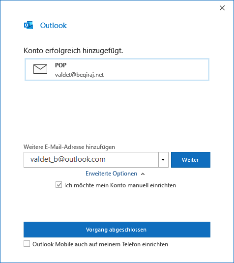 IONOS POP3 E-Mail-Konto in Outlook 2019