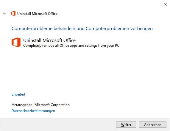 Assistent zum Deinstallieren von Office 365