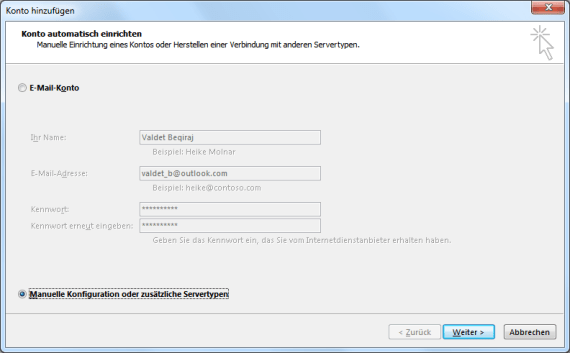 Hotmail E-Mail-Konto in Outlook 2013 einrichten
