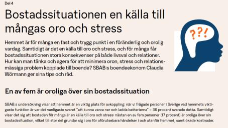 Bostadssituation en källa till oro och stress för många 1