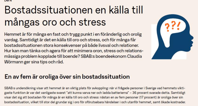 Bostadssituation en källa till oro och stress för många