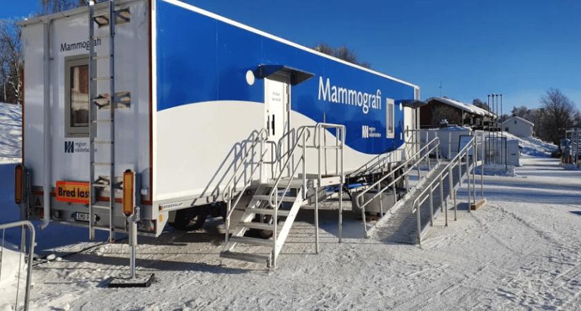 Ny och modern mammografivagn i Vilhelmina
