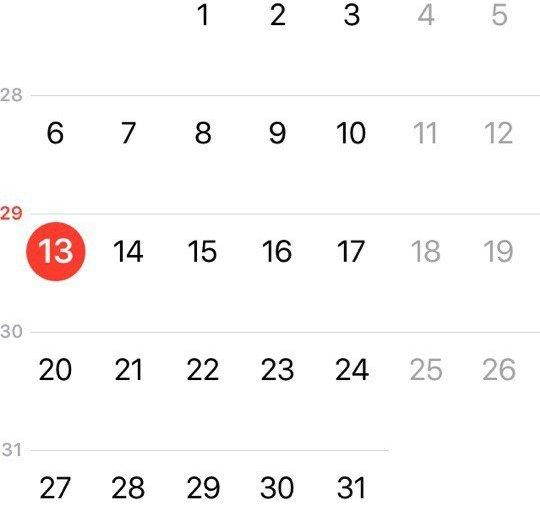 Отображение номеров недель в календаре