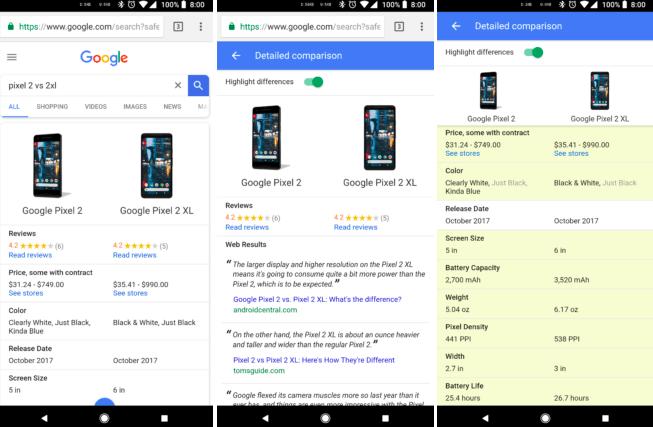 Впоиске Google возникла функция сравнения технических характеристик устройств