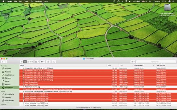 Как выделить все файлы на mac