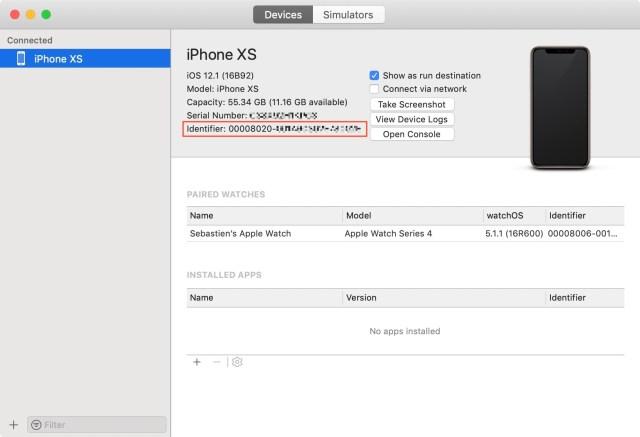 Get-iPhone-XS-UDID-in-Xcode