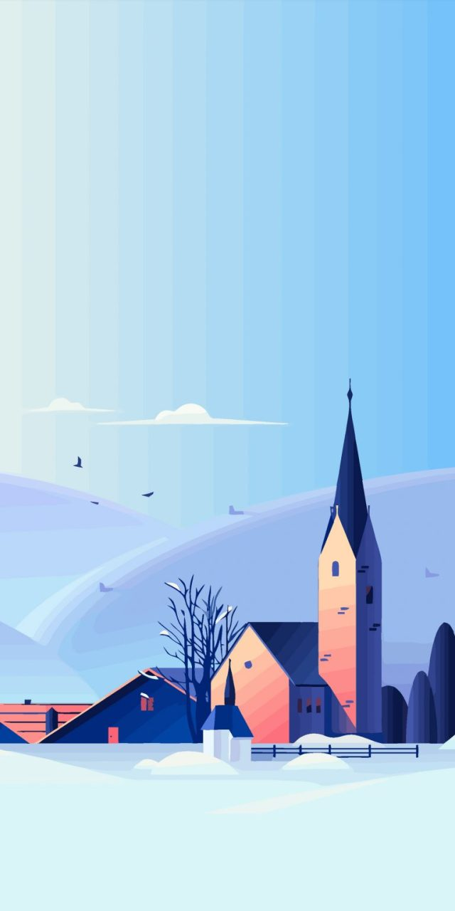 snow-illustration-church-winter-backbroung-iphone-wallpaper-ongliong11-768×1536