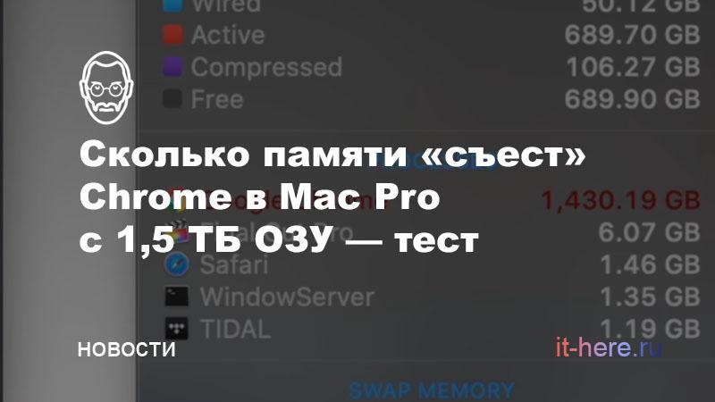 Сколько вкладок в Chrome можно открыть на Mac Pro с 1,5 ТБ оперативной памяти