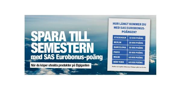 SAS EuroBonus-poäng på köpet hos Elgiganten